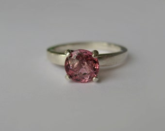 Natural Top-Grade Pink Tourmaline In Sterling Silver Ring, 1.26ct. Size 6
