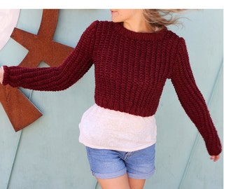 30% OFF enter coupon code SUMMER17 burgundy wine red womens hand knit sweater cosy warm sweater handmade cropped sweater summer trends july