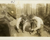 "Vintage Photo ""Loggers Playing Dice"" Men Game Snapshot Old Antique Photo Black & White Photograph Found Paper Ephemera Vernacular - 113"