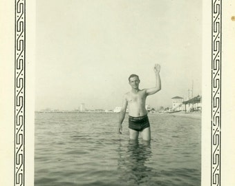 "Vintage Photo ""The Hello Man"" Beach Shirtless Man Snapshot Photo Old Antique Black & White Photograph Found Paper Ephemera Vernacular - 170"