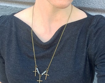 SALE - Triple Brass Cross Necklace
