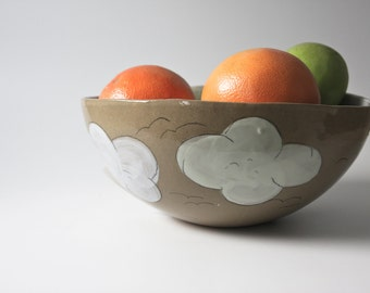 ceramics and pottery large stoneware bowl. whimsical cloud bowl. serving bowl, fruit bowl, salad bowl, earthy natural handmade