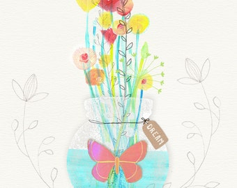 Flower Bouquet with Butterfly - Inspirational Art Print