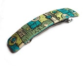 Polymer clay Hair Barrette, handmade polymer clay hair pin, Mosaic turquoise blue light green white, black patina, Made in France hair pin