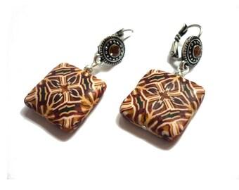 Geometric earrings, brown terracotta beige kaleidoscope canne, artisan earrings, polymer clay kaleidoscope canne, tribal jewelry, boho chick