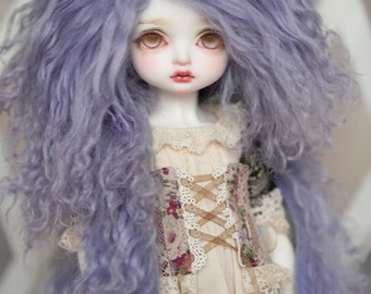 "10in"" Light Purple Lilac Tibetan Mohair Wavy Wig for Volks BJD SD Dolls"
