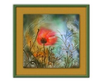 Mohn, Großer Roter Blume, Wunderschöne Landschaft, Druck Auf Leinwand Von  Original Gemälde
