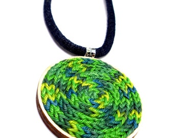 Fabric necklace with knitted decoration - wood necklace, gift for her, long necklace, statement jewelry, fabric jewel, wood jewelry