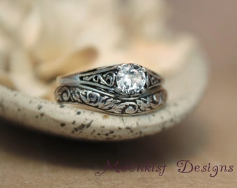 White Sapphire Filigree Engagement Ring Set with Fitted Floral Band in Sterling - Delicate Filigree Wedding Set Tendril and Vine Band