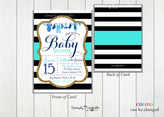 Blue black and white baby shower invitation baby boy shower il570xn filmwisefo Images