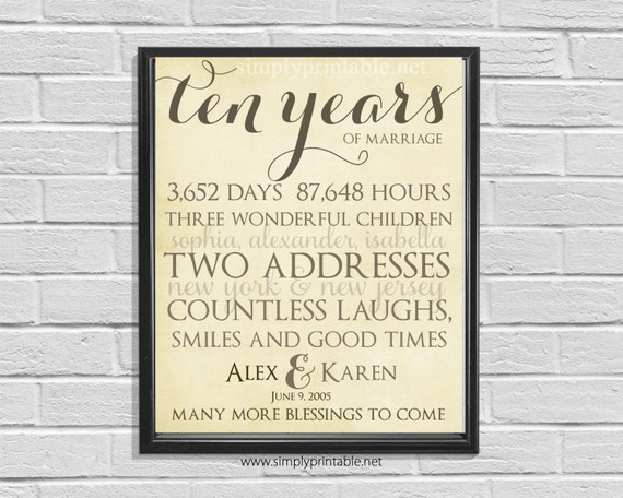 Anniversary Wall Print, Printable 10th Anniversary, Rustic Anniversary Gift, Days, Hours, Digital Wall Print