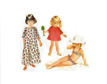 1960s Girls Bikini Pattern, Toddler Bathing Suit, Girls Cover Up, Girls Size 3, McCalls 8800 Girls Vintage Sewing Pattern