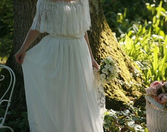 Off the shoulder bridal gown, boho wedding dress - made by your measurments, warm white chiffon, lace gown