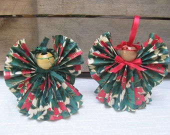 Holly Print Paper Angel, Christmas Tree Ornament, Paper Ribbon Angel, Christmas Decor, Christmas Angel, Holiday Angels, Decor SnowNoseCrafts