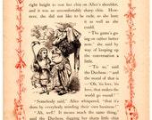 Through The Looking Glass Antique Book Page  -  Vintage Alice in Wonderland decor, nursery art, 8 x 10 artwork print