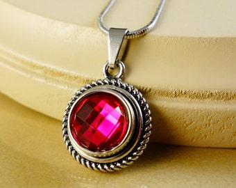 RUBY July Birthstone small round silver pendant with 12mm snap button