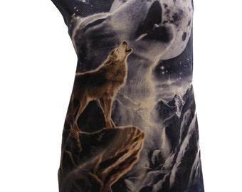 Stunning Ghost WOLF Spirit Reshaped Wildlife T-Shirt / Dress Sz. M