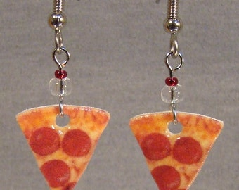 Pepperoni Pizza Slice dangle Earrings - Food Earrings