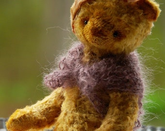 Monnie Artist Bear by Atelier Lavendel Natural Fiber Art Waldorf Inspired Doll  7in OOAK German Bear ECO Friendly Collectible