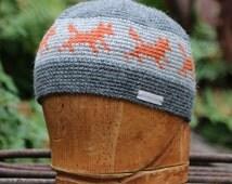 Wool beanie, unisex snowboarding hat, crochet beanie with fox pattern, crochet kufi hat, winter hat, chemo hat, crochet skull cap, chemo cap