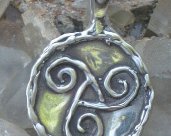 Masculine Celtic Triskelion in Sterling Silver.Celtic Trinity Symbol in Sterling Silver.Irish Jewelry Charm.Celtic Knot Charm.Wiccan Jewelry