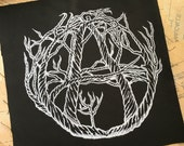 Screen Printed Back Patch, Anarchy Punk Patch, Green Anarchy, Original Art