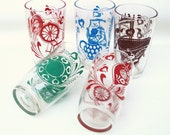 Vintage Swanky Swigs Juice Glasses / Small Tumblers Lot of 5 / Old Jelly Glasses with Victorian Decor