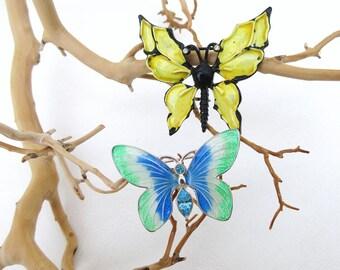 Vintage Enamel Butterflies | Enamel Pins | Butterfly Pins | Butterfly Brooches | Rhinestone Butterflies - Lot of 2