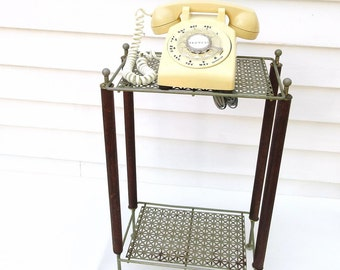 1950s Telephone Table / Metal Wood Table / Occasional Table, Small Side Table