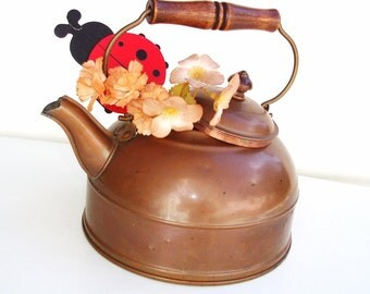 Vintage Copper Water Kettle with Wood Handle Rustic Fat Teapot / French Country – As Is