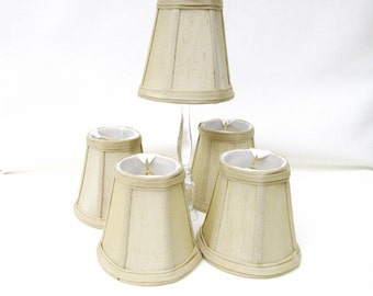 Vintage Light Sconce Shades / Small Lamp Shades / Fabric Lampshades – Beige