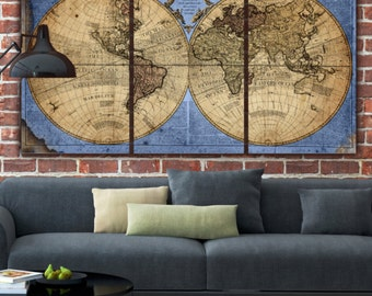 Huge what a wonderful world map art on canvas script globe world map canvas bluetan large wall art canvas wall art gumiabroncs Images