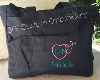 Personalized or Monogrammed NURSE or DOCTOR Super Tote 26 BAG Colors to Choose from