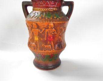 Norleans Japan Vase Redware Egyptian Motif Spynix Pyramids Shamrocks MCM  Vintage Unique