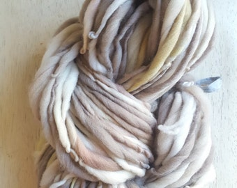 Soft Simple White Grey Mixed with Pastel Color Handspun thick n thin Wool soft knitting supplies Wool Light Grey crochet supplies fiber arts