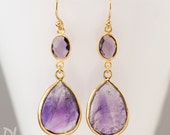 Purple Amethyst Earrings - Feburary Birthstone Earrings - Gemstone Purple Earrings - Gold Drop Earrings - Dangle Earrings