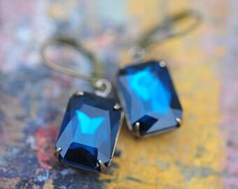 Saphire Blue Estate Style Earrings, Vintage Jewelry, Bridal Earrings, Wedding Earrings, Holiday Earrings, Gift For Her Bridesmaid Earrings