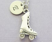 Roller Skate Necklace, Skater Jewelry, Skating, Skates, Sports, BFF, Silver Jewelry, Personalized, Monogram, Hand Stamped Letter Initial