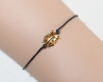 Ladybug Bracelet or Anklet, Gold Plated Pewter, Tierracast, BFF Gift, Best Friend Gift, Friendship Jewelry, Woodland, Animal Jewelry