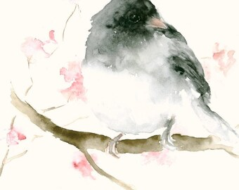 Fine Art Print from Original Watercolor Painting Black Bird and Flowers
