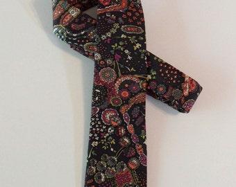 SILK Liberty of London Skinny Tie // Bohemian, Multi Color, Psychedelic