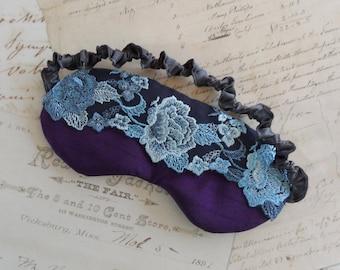 Midnight Roses Lace & Satin Sleep Mask // Purple, Blue, Floral Eye Mask