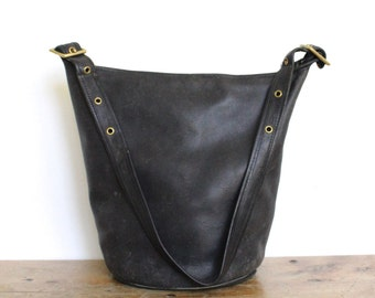Vintage COACH Duffle Bag // NYC Feed Bucket Bag Pre 9085 Black Leather Tote