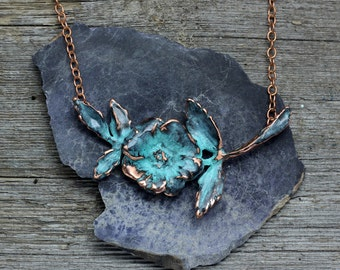 Wild rose copper patina necklace
