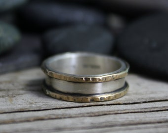 Oxidized 14k Yellow Gold Sterling Silver Band - Wedding Band - Two Tone Ring - Ready to Ship Size 7