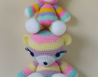 Bear Crochet Amigurumi Pattern PDF - Striped bear amigurumi Toy crochet pattern - Instant DOWNLOAD