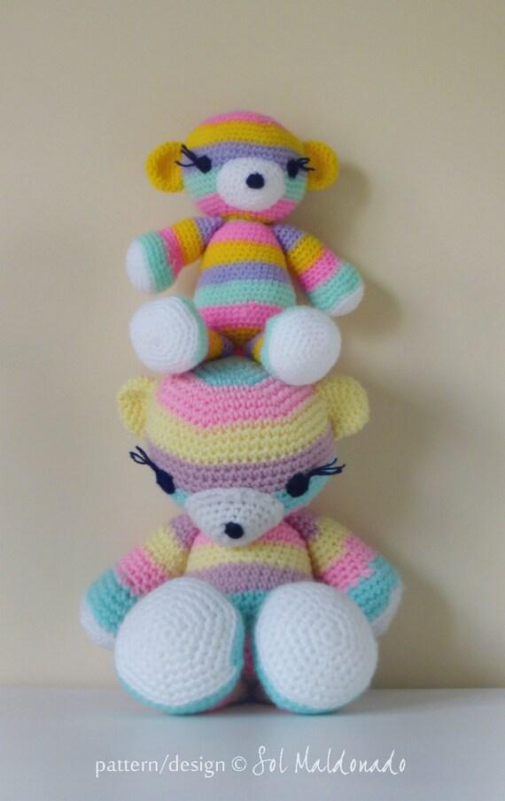 Amigurumi Stripes Tutorial : Crochet Amigurumi Pattern Bear PDF - Striped bear ...