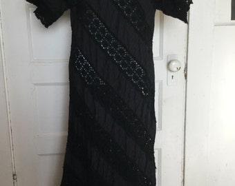 Black cotton and lace detail maxi dress