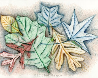 "Autumn Leaves: original colored pencil and watercolor drawing 12""x18"""