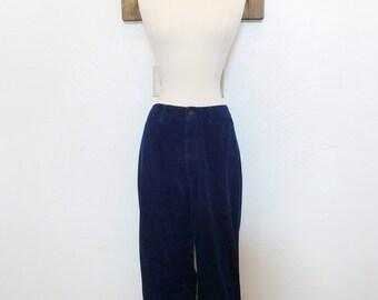 1970s Blue Corduroy Pants Vintage 70s Cords - 28W x 29L